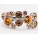 Borostyán Swarovski Elements kristály gyűrű
